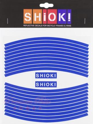 Shiok! Светоотражающие наклейки на обод голубые