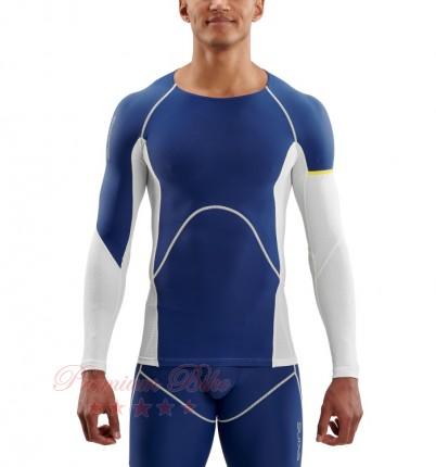 SKINS Топ компрессионный DNAmic Ultimate Cool с длинным рукавом белый/синий