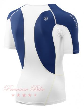 SKINS Топ компрессионный DNAmic Ultimate Cool с коротким рукавом белый/синий