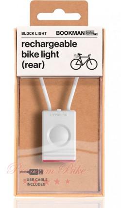 Bookman Фонарь велосипедный задний Block Light Rear белый