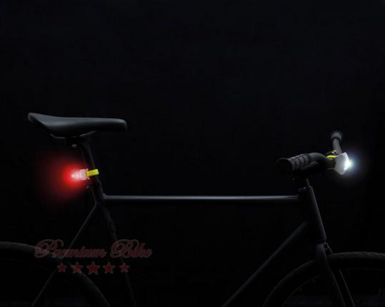 Bookman Фонарь велосипедный задний Curve Light Rear серый/желтый неон